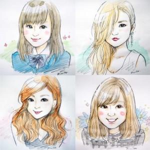 girls portrait sketch×4