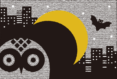 月とフクロウ