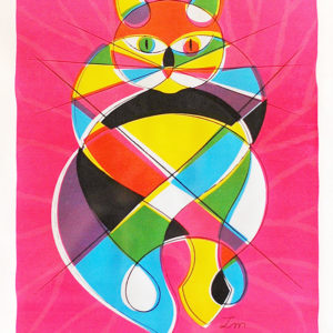 スクリーン版画/ピンクの猫