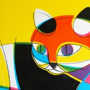 スクリーン版画/イエローの猫