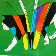 スクリーン版画/グリーンの猫