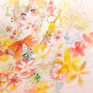 イラスト少女女の子花黄色キラキラ 現代アート 絵画の通販