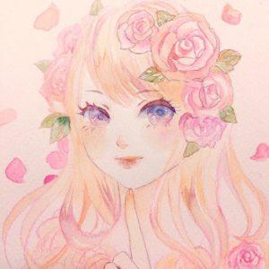 水彩画イラスト女の子花人物 現代アート 絵画の通販販売