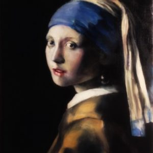Vintage Gold / girl with pearl earring