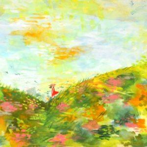 10月の秋風、振り向く少女