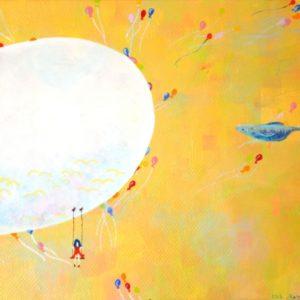 空飛ぶさかなとあくびの風船